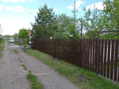 Забор из сетки рабица и металлического штакетника Ral 8017