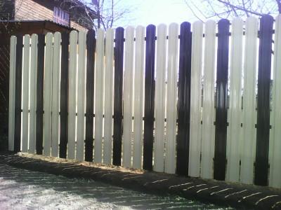 Двухцветный забор из евроштакетника